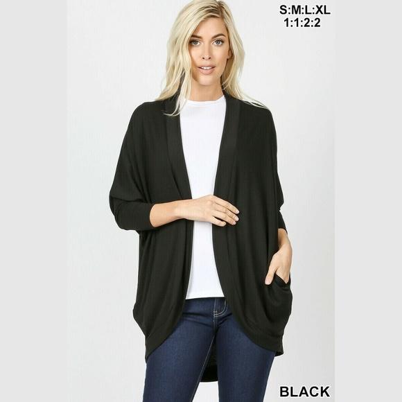 Zenana Womens Open Cardigan Plus Size 3X Black 3//4 Sleeve Slouchy Pocket